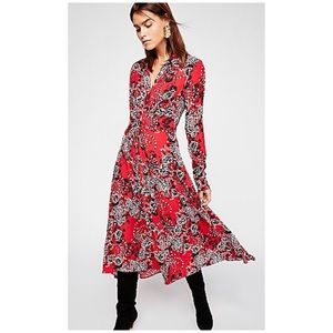 Free People Tough Love Shirt Print Dress